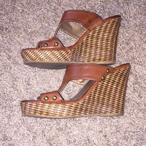 Leather Brown Strap Wedges